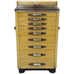 Antique Art Deco Wood and Metal Medical Dental Dentist Doctor's Cabinet