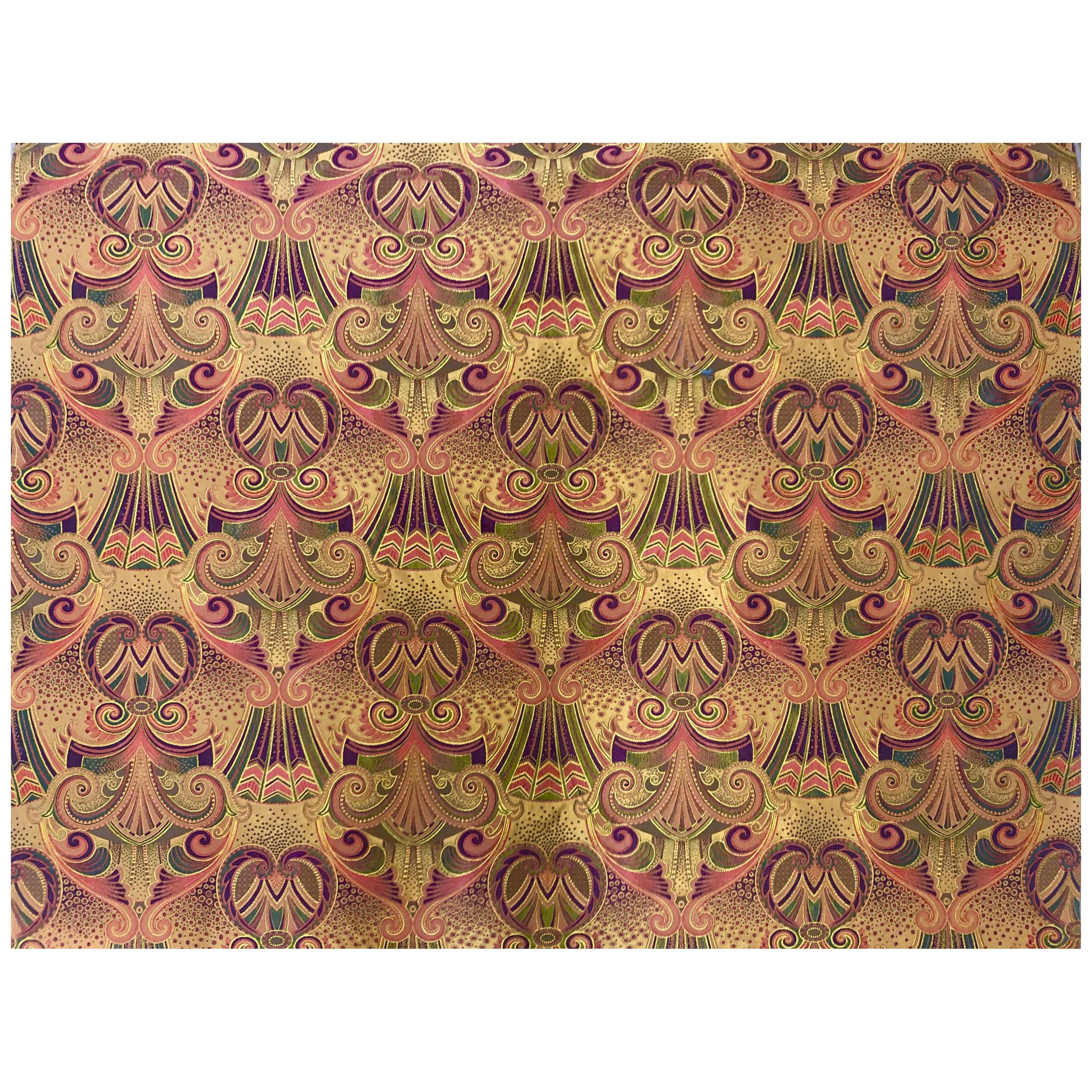 Antique Art New Vouge Sateen Fabric with Gold Accents