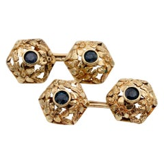 Antique Art Nouveau 1.0 Carat Natural Sapphire 18 Karat Gold Cufflinks