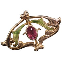 Antique Art Nouveau 10 Karat Yellow Gold Ruby and Enamel Brooch