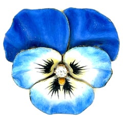Antique Art Nouveau 14 Karat Blue Enamel Pansy Pin with Diamond