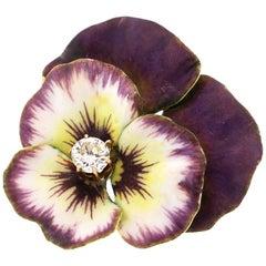 Antique Art Nouveau 14 Karat Gold Purple Enamel Diamond Pansy Pin