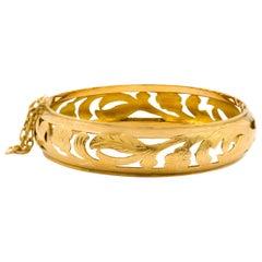 Antique Art Nouveau 14k Yellow Gold Engraved Bangle Bracelet