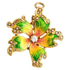 Antique Art Nouveau 14 Karat Diamond and Seed Pearl Enamel Flower Pendant Brooch