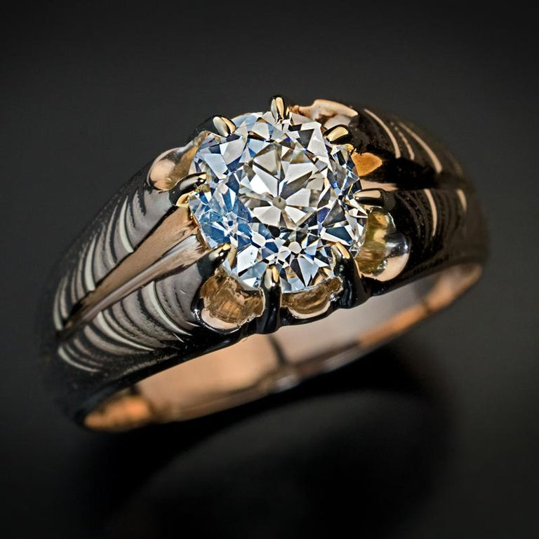Old Mine Cut Antique Art Nouveau 1.70 Carat Old Cushion Cut Diamond Unisex Ring For Sale