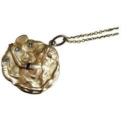 Antique Art Nouveau 18 Karat/14 Karat Gold Ruby and Diamond Lady Necklace