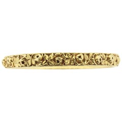 Antique Art Nouveau 18 Karat Carved Gold Bangle