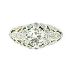 Antique Art Nouveau 18k Gold Old Cut Diamond Pierced Floral Work Domed Band Ring