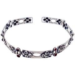 Antique Art Nouveau Aesthetic Movement Silver Choker Rosebuds Garnets Silver