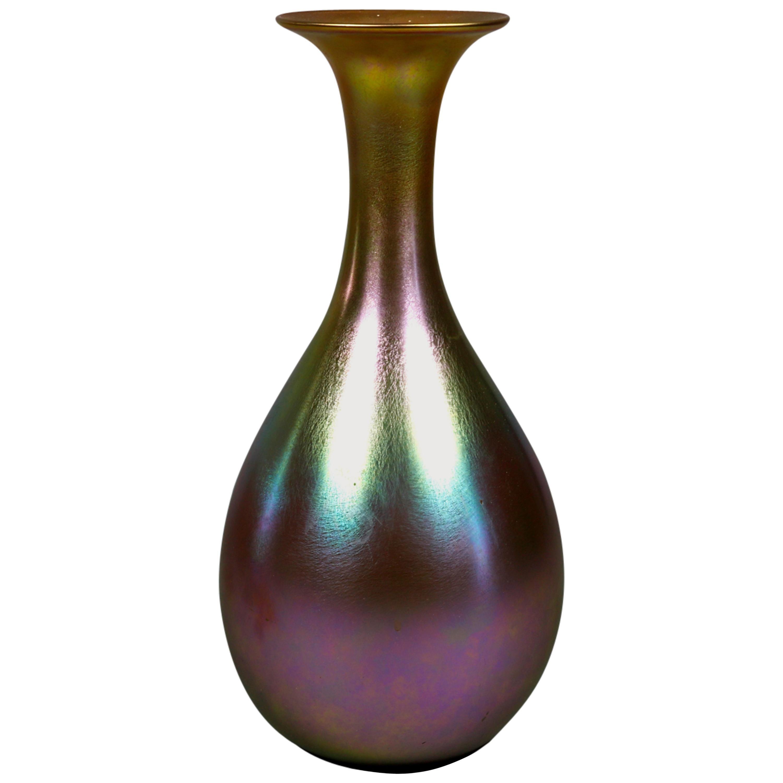 Oversized Antique Art Nouveau Aurene Art Glass Vase, Signed Quezal, c1900