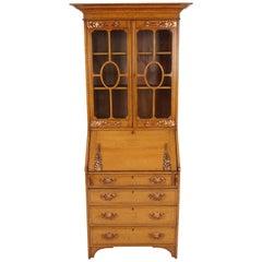 Antique Art Nouveau Bookcase, Oak Slant Front Desk, Scotland 1910, B1660