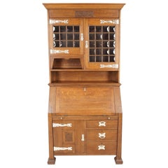 Antique Art Nouveau Bookcase, Tiger Oak Bureau Bookcase, Scotland 1910, B1802