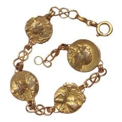 Antique Art Nouveau Bracelet 18K Gold with 4 High Relief Lady's Heads