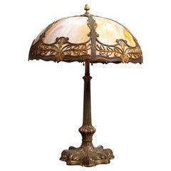Antique Art Nouveau Bradley & Hubbard School Polychromed Slag Glass Lamp