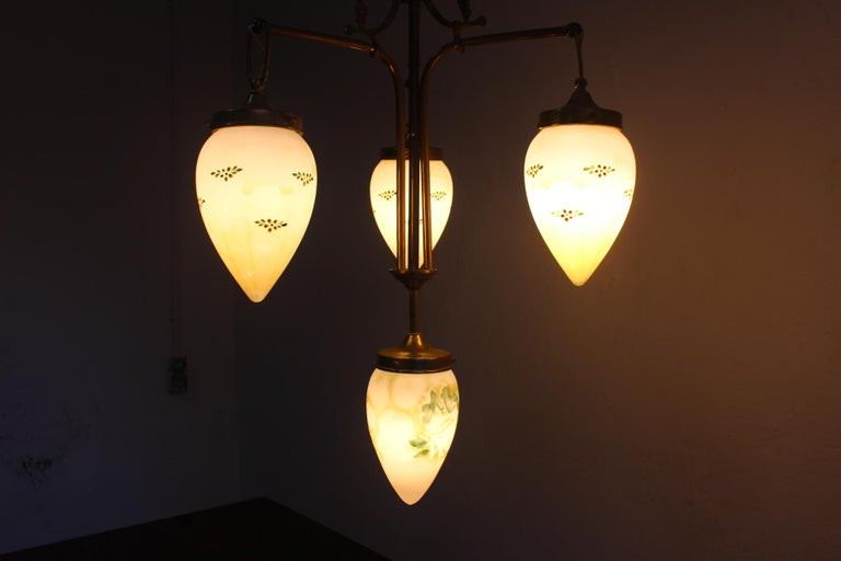 Antique Art Nouveau Brass Chandelier with Hand Painted Glass Shades For Sale 8