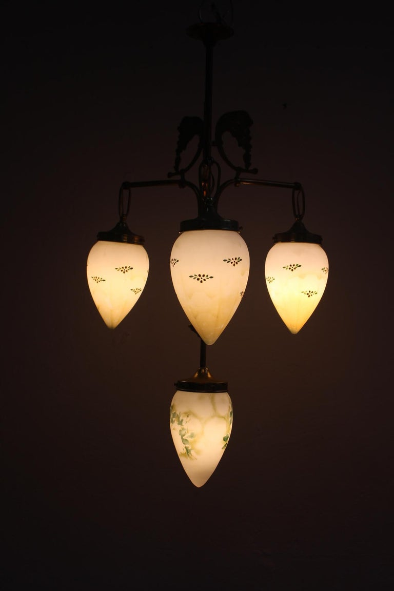 Antique Art Nouveau Brass Chandelier with Hand Painted Glass Shades In Good Condition For Sale In Valencia, Valencia