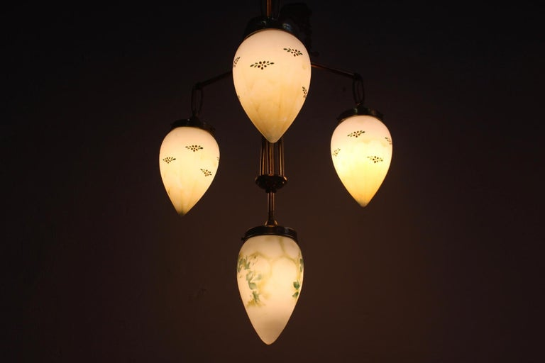 Milk Glass Antique Art Nouveau Brass Chandelier with Hand Painted Glass Shades For Sale