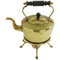Antique Art Nouveau Brass Kettle on Stand With Burner, Scotland 1910 1954