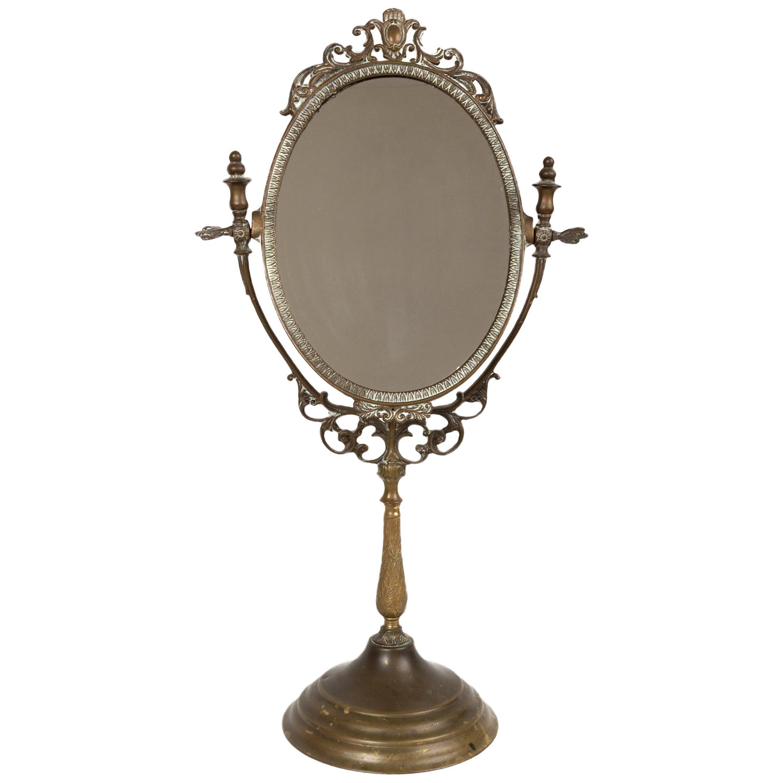 Antique Art Nouveau Brass Vanity Mirror, England, C.1900