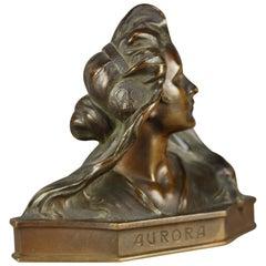 Antique Art Nouveau Cabinet Bronze Portrait Bust of Woman, Aurora, circa 1920