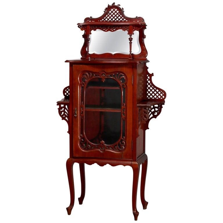 Antique Art Nouveau Carved Mahogany Reticulated Étagère, circa 1900 For Sale
