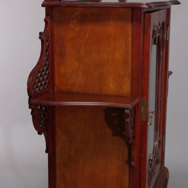 Antique Art Nouveau Carved Mahogany Reticulated Étagère, circa 1900 For Sale 4