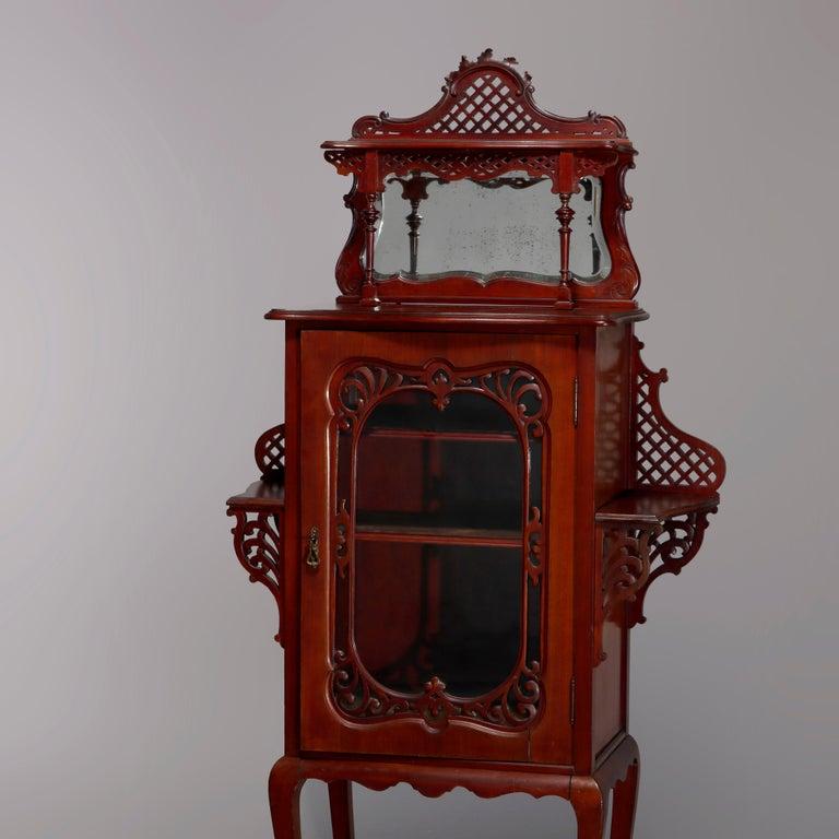 Antique Art Nouveau Carved Mahogany Reticulated Étagère, circa 1900 For Sale 6
