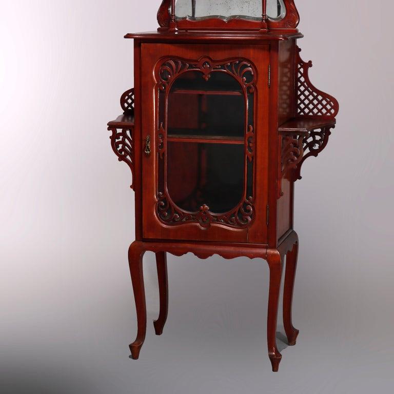 Antique Art Nouveau Carved Mahogany Reticulated Étagère, circa 1900 For Sale 7