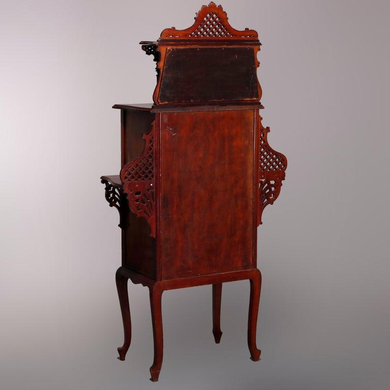 Antique Art Nouveau Carved Mahogany Reticulated Étagère, circa 1900 For Sale 9