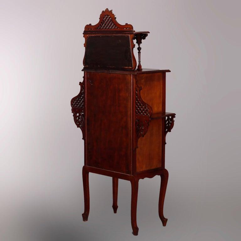 Antique Art Nouveau Carved Mahogany Reticulated Étagère, circa 1900 For Sale 10