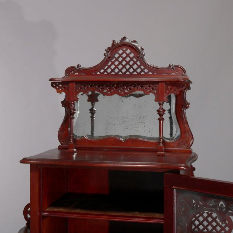 European Antique Art Nouveau Carved Mahogany Reticulated Étagère, circa 1900 For Sale