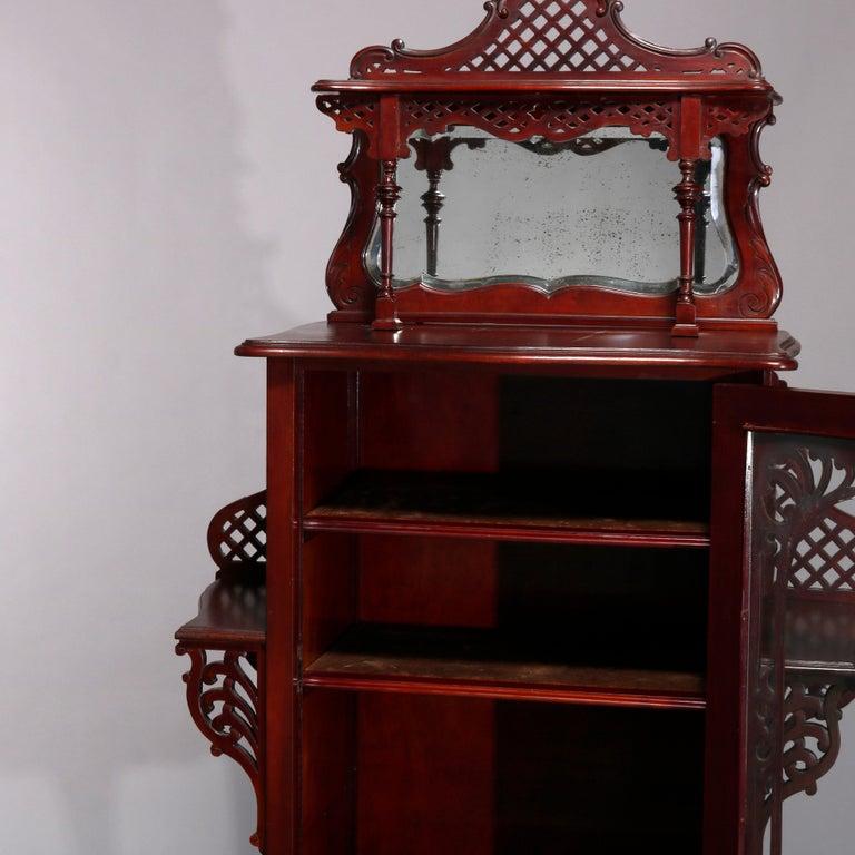 Wood Antique Art Nouveau Carved Mahogany Reticulated Étagère, circa 1900 For Sale