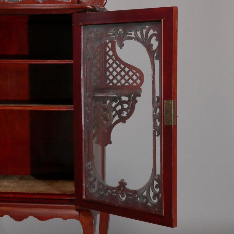 Antique Art Nouveau Carved Mahogany Reticulated Étagère, circa 1900 For Sale 2