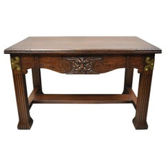 Antique Art Nouveau Carved Oak Northwind Face Desk Library Table with One Drawer