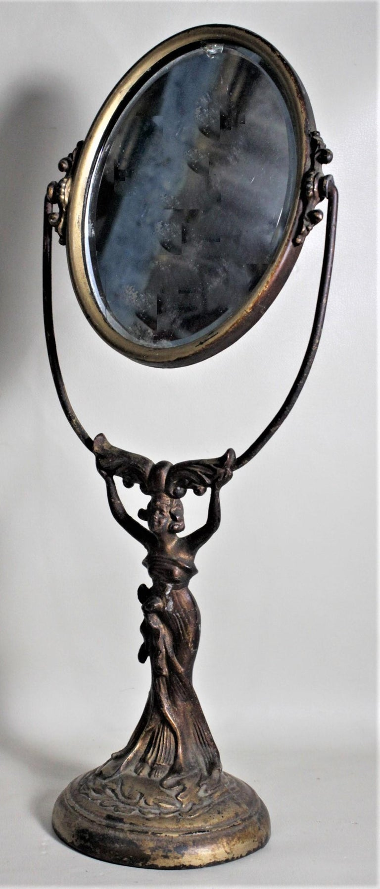 French Antique Art Nouveau Cast Figural Metal Pedestal Ladies Dresser or Vanity Mirror For Sale