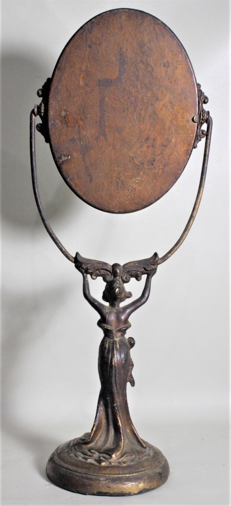 19th Century Antique Art Nouveau Cast Figural Metal Pedestal Ladies Dresser or Vanity Mirror For Sale