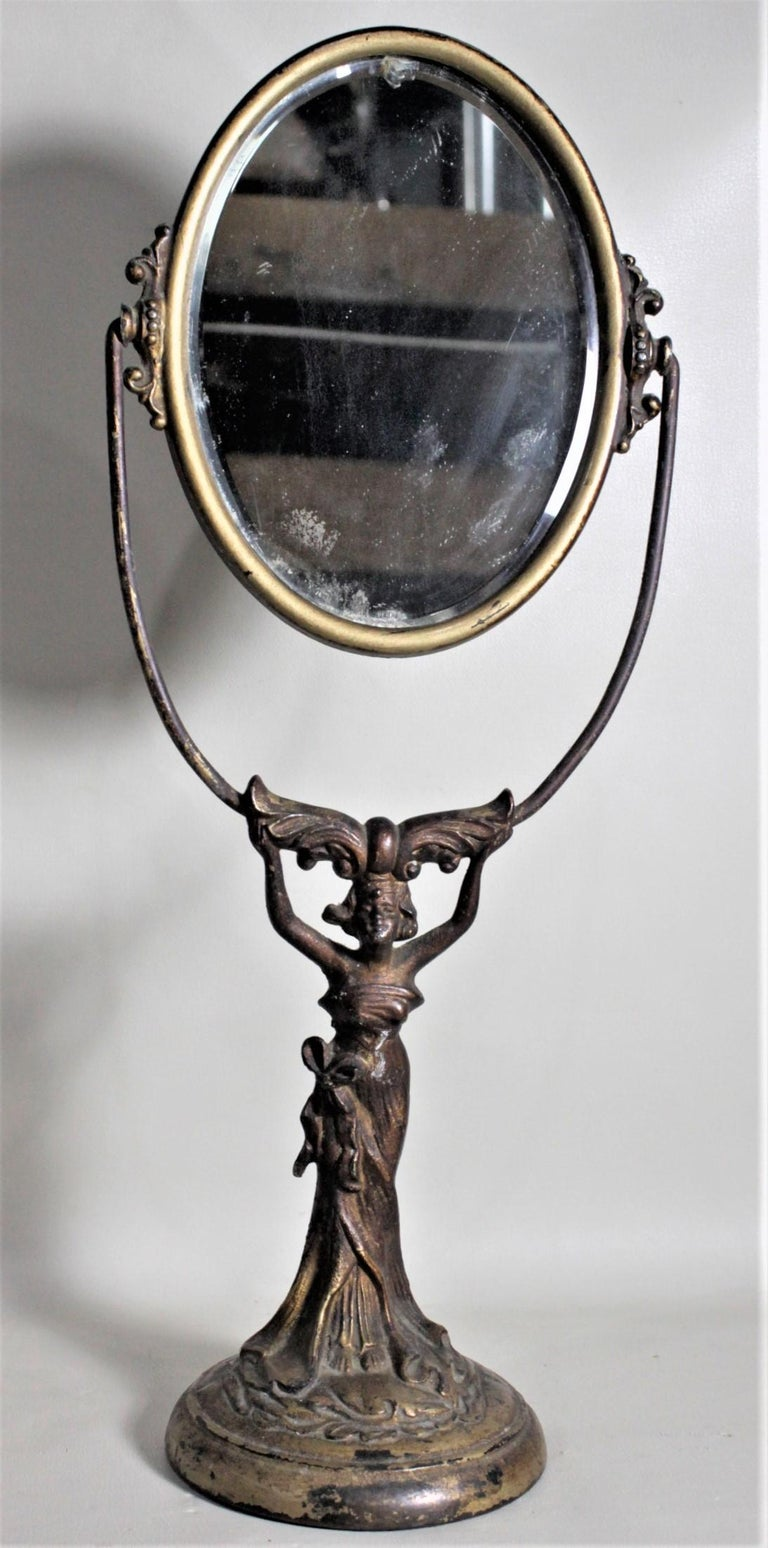 Antique Art Nouveau Cast Figural Metal Pedestal Ladies Dresser or Vanity Mirror For Sale 2