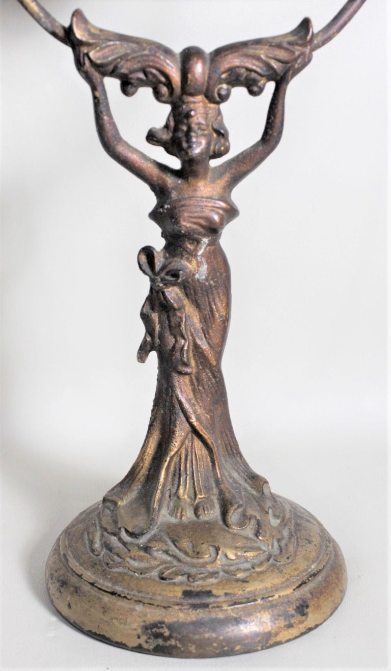 Antique Art Nouveau Cast Figural Metal Pedestal Ladies Dresser or Vanity Mirror For Sale 3