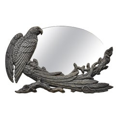 Antique Art Nouveau Cast Iron Eagle Phoenix Bird Vanity Tabletop Mirror