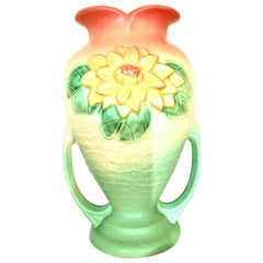 """Antique Art Nouveau Ceramic """"Winter Lilly"""" Two Handle Vase by, Hull Pottery"""
