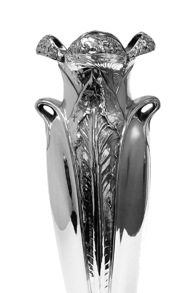 Early 20th Century Antique Art Nouveau Christofle Silver Plate Vase, France, C.1900 For Sale