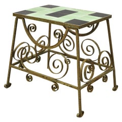 Antique Art Nouveau Deco Green and Black Tile Wrought Iron Accent Table