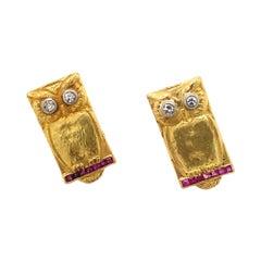 Antique Art Nouveau Diamond Eye Ruby 18k Gold Owl Earrings