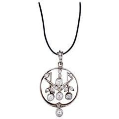 Art Nouveau Diamond Gold Silver Pendant Austria