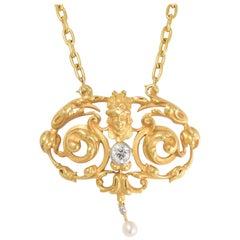 Antique Art Nouveau Diamond Pearl Necklace