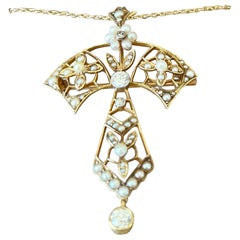 Antique Art Nouveau Diamond Pearl Pendant/Brooch with Chain 15 K Yellow Gold