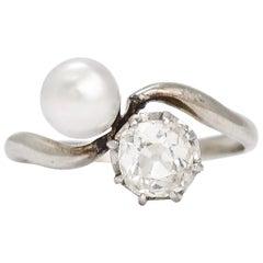 """Antique Art Nouveau Diamond Pearl """"Toi Et Moi"""" Ring"""