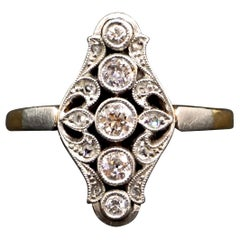 Antique Art Nouveau Diamond Rose Gold Navette Ring, Austria, Around 1900
