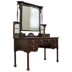 Antique Art Nouveau Dressing Table, English, Maple and Co., Mahogany, circa 1890
