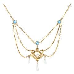 Antique Art Nouveau Drop Necklace Blue Sapphire Pearls 14 Karat Gold Vintage